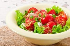 Tomatensalat mit Kopfsalat, Käse Lizenzfreie Stockbilder
