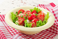 Tomatensalat mit Kopfsalat, Käse Lizenzfreies Stockfoto
