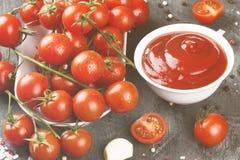 Tomatensauce in den weißen Schüssel-, Gewürz- und Kirschtomaten auf einer Dunkelheit Lizenzfreies Stockbild