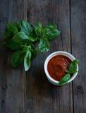 Tomatensauce mit Basilikum Stockbilder