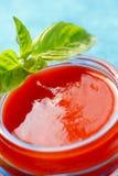 Tomatensauce mit Basilikumblättern Stockbild