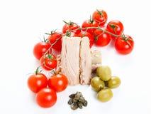 Tomatensaucebestandteile, -oliven und -thunfisch Lizenzfreies Stockfoto