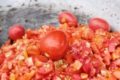Tomatenscheibe lizenzfreie stockbilder