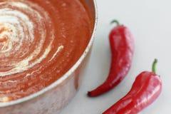Tomatensoep met geroosterde peper royalty-vrije stock foto's