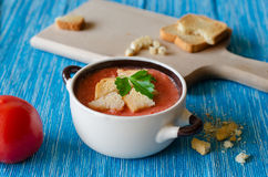 Tomatensoep met Kaas Stock Afbeelding