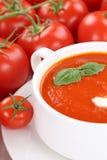 Tomatensoep met tomaten en basilicum in kom Stock Foto's