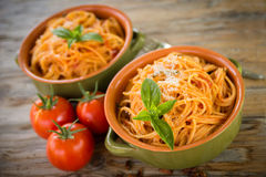 Tomatenspaghettis Stockfoto