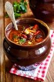 Tomatensuppe mit Bohnen, Mais, Gemüse und Hackfleisch Stockfoto