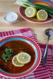 Tomatensuppe mit Zitronen Stockfotos