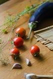 Tomater, aubergine och vitlökbakgrund Arkivbild