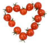 tomater för Cherrydatalisthjärta Fotografering för Bildbyråer