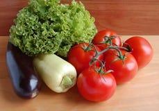 Tomater för nya grönsaker, aubergine peppar grönsallat Royaltyfri Foto