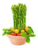 tomater för sparrisbasilikagreen Fotografering för Bildbyråer