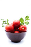 Tomater i en bunke Royaltyfri Bild