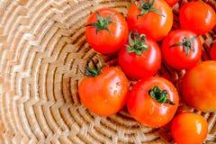 Tomater i en korg arkivfoton