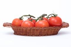 Tomater i en korg Arkivbilder