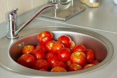 Tomater i en vask arkivfoto
