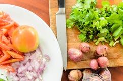 Tomater lök, koriander som skivas för att laga mat Royaltyfria Foton