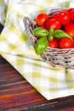 Tomater med basilika i korg Arkivfoton
