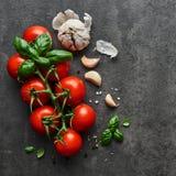 Tomater med basilika, vitlök och seasalt på svart stenbackgroun royaltyfria bilder