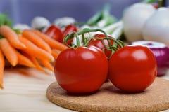 Tomater med grönsaker på en bakgrund Arkivbild