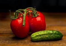 Tomater och gurka Fotografering för Bildbyråer