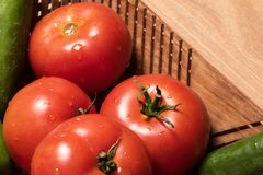 Tomater och gurkor med bra tända och bakgrund Arkivbilder