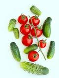 Tomater och gurkor som isoleras på viten Royaltyfria Foton