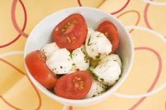 tomater och mozzarella Arkivbild
