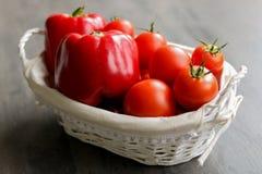 Tomater och peppar i gnäggandet Arkivbilder