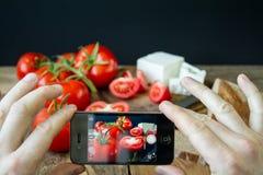 Tomater och vit grekisk ost Royaltyfri Fotografi