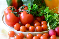 Tomater, rädisor, peppar och persilja på träskärbräda Royaltyfria Foton