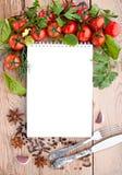 Tomater, vitlök, persilja och kryddor på träbakgrunden med utrymme för text Royaltyfria Bilder