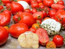 Tomates, ajo, cebollas y tomillo frescos en cacerola de la asación Imagen de archivo libre de regalías