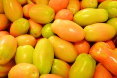 Tomates amarelos, fundo fotografia de stock