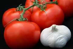 Tomates & alho no preto Fotos de Stock Royalty Free