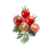Tomates apresentados no fundo branco Tomates de cereja isolados Imagens de Stock Royalty Free