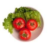 tomates avec de la laitue sur le plat photos libres de droits