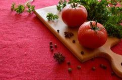 Tomates avec des baisses de l'eau Photo libre de droits