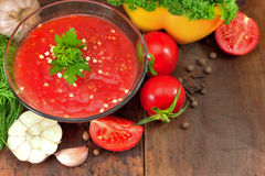 Tomates avec des herbes Photo stock