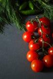 Tomates avec des pappers verts Images libres de droits