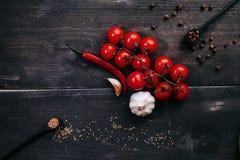 Tomates avec le poivre et les assaisonnements Recettes de sauce tomate photos stock