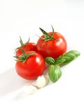 Tomates, basilic et ail Images libres de droits