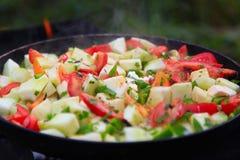 Tomates, calabacín, peper, cebolla cocinada Foto de archivo libre de regalías