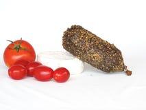 Queso y tomates del salami Imagen de archivo