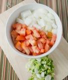 Tomates, cebollas y cebolleta tajados en tabla de cortar Imagenes de archivo