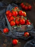 Tomates-cerises dans une boîte en métal photos libres de droits