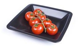 Tomates-cerises dans une plaque Photos libres de droits