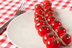 Tomates-cerises de plaque Images libres de droits