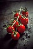 Tomates-cerises mûres fraîches dans un groupe sur la vigne Image stock
